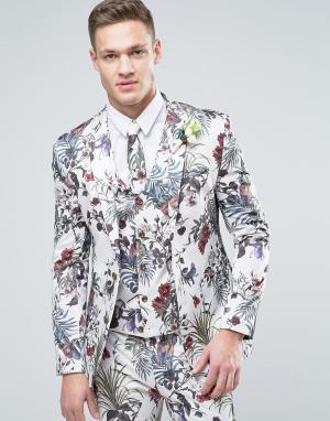 ASOS Кремовый супероблегающий пиджак с цветочным принтом. Цвет: кремовый