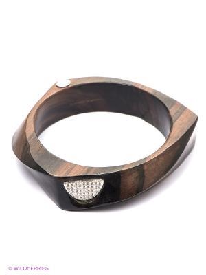 Браслет Art Silver. Цвет: коричневый, серебристый