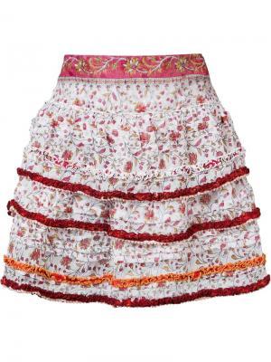 Мини-юбка Bibi Poupette St Barth. Цвет: розовый и фиолетовый