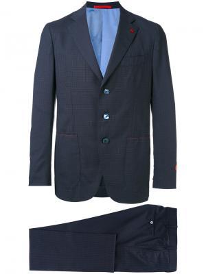 Брючный костюм с вышивкой Isaia. Цвет: синий