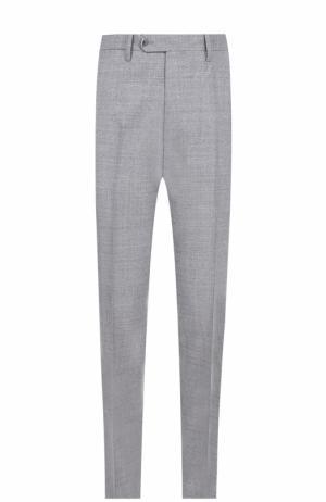 Шерстяные брюки прямого кроя Germano. Цвет: светло-серый