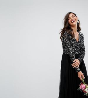 Maya Платье макси с глубоким вырезом, длинными рукавами, пайетками и юбкой. Цвет: черный