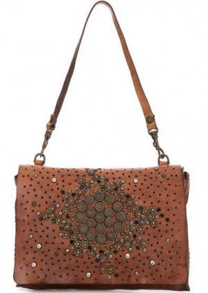 Кожаная сумка с металлическим декором Campomaggi. Цвет: коричневый