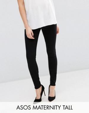 ASOS Maternity Черные джинсы скинни для беременных с поясом под животиком Matern. Цвет: черный