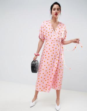 Gestuz Платье с запахом Elsie. Цвет: розовый