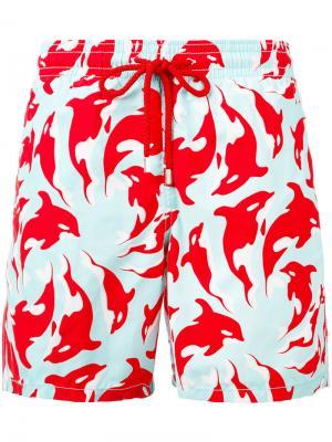 Шорты для плавания с цветочным принтом Vilebrequin. Цвет: красный