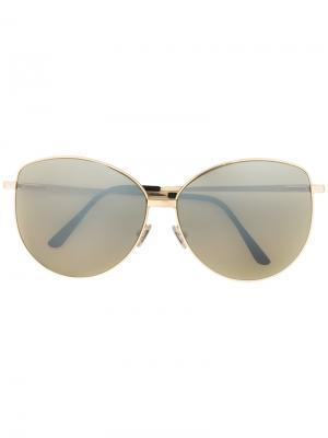 Солнцезащитные очки в оправе кошачий глаз Spektre. Цвет: зелёный
