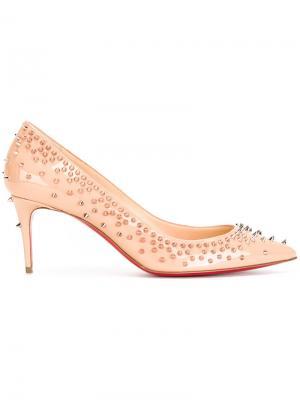 Туфли-лодочки с заклепками Christian Louboutin. Цвет: телесный