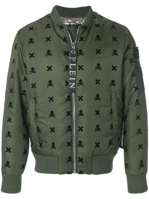 Куртка-бомбер  с нашивками в виде черепа Philipp Plein. Цвет: зелёный