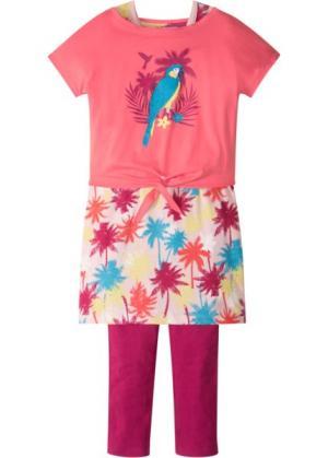 Футболка + платье легинсы (3 изд.) (нежный ярко-розовый) bonprix. Цвет: нежный ярко-розовый