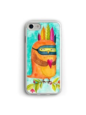 Чехол для iPhone 7/8 Сова Boom Case. Цвет: бирюзовый, темно-бежевый
