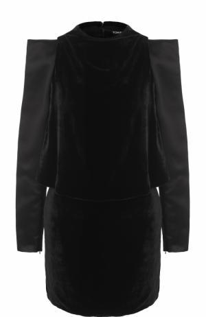 Приталенное бархатное мини-платье с разрезами на рукавах Tom Ford. Цвет: черный