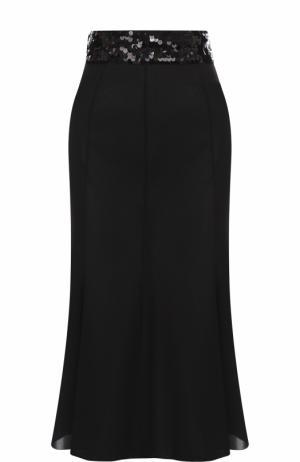 Однотонная юбка-миди с пайетками Dolce & Gabbana. Цвет: черный