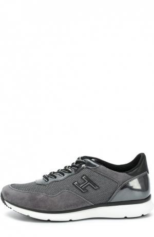 Комбинированные кроссовки с нашивкой Hogan. Цвет: серый