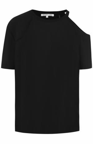 Хлопковая футболка с открытым плечом Helmut Lang. Цвет: черный