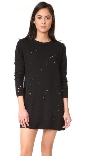 Платье-толстовка с эффектом поношенности LNA. Цвет: голубой