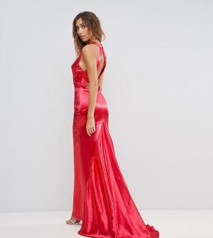 Jarlo Tall Платье макси с американской проймой, юбкой-годе и открытой спиной Jarl. Цвет: красный