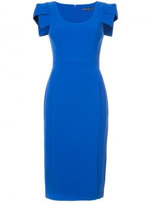 Приталенное платье с отделкой Black Halo. Цвет: синий