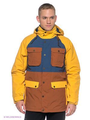 Куртка Burton. Цвет: коричневый, желтый, синий