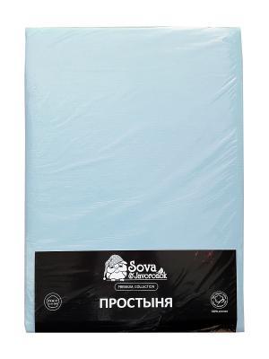 Простыня 2 сп. Sova and Javoronok. Цвет: светло-голубой