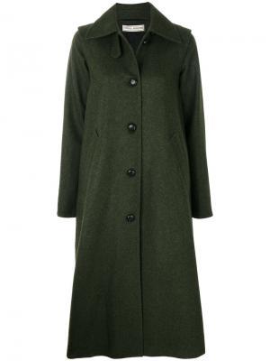 Длинное пальто со складками Veronique Branquinho. Цвет: зелёный