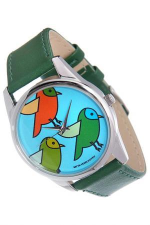 Часы Три птички MITYA VESELKOV. Цвет: зеленый
