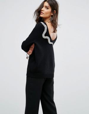 BA&SH Декорированный джемпер с глубоким вырезом на спине. Цвет: черный