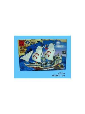 Конструктор пластиковый Пиратский корабль с фигурками ENLIGHTEN. Цвет: коричневый, бежевый, белый