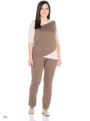 Костюм (кофточка, брюки) HomeLike. Цвет: коричневый, бежевый