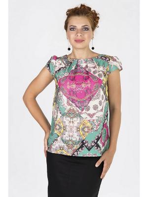 Блузка Lautus. Цвет: розовый, белый, бирюзовый