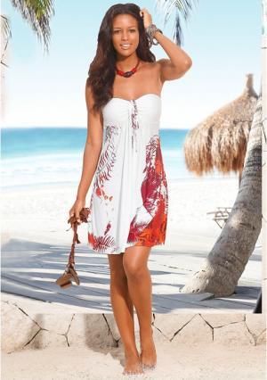 Пляжное платье s.Oliver. Цвет: кремовый/оранжевый