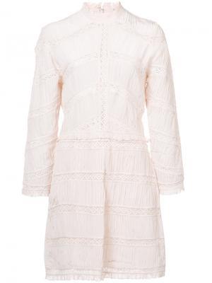 Кружевное платье с высокой горловиной Ulla Johnson. Цвет: розовый и фиолетовый