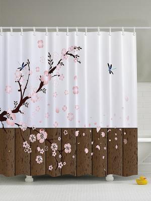 Фотоштора для ванной Цветущая ветка, влюблённая бабочка, розовые цветы, колибри и гибискус, 180x20 Magic Lady. Цвет: коричневый, розовый, черный