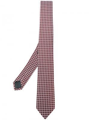 Галстук с вышивкой Z Zegna. Цвет: красный