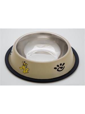 Миска нескользящая цветная с рисунком Doggy Style. Цвет: бежевый