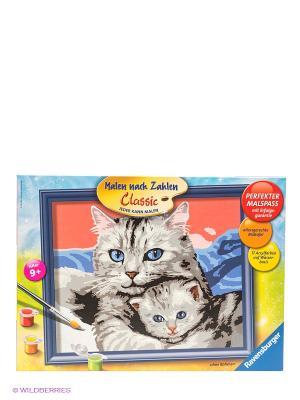 Раскраска по номерам Кошка с котенком Ravensburger. Цвет: голубой, красный, оранжевый, желтый, зеленый, серый