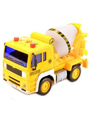 Машина  пластмассовая инерционная Бетономешалка Горстрой масштаб 1:20, свет+звук . Технопарк. Цвет: желтый