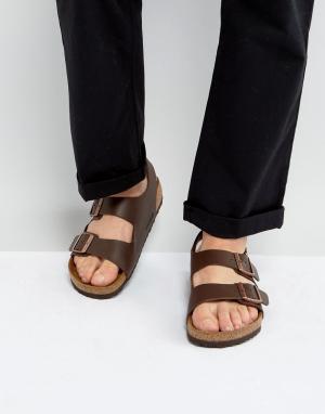 Birkenstock Темно-коричневые сандалии. Цвет: коричневый