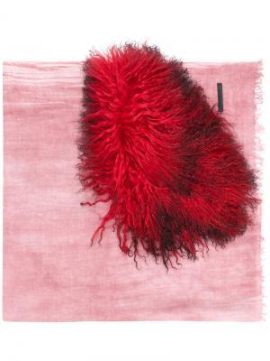 Пушистый шарф Cutuli Cult. Цвет: розовый и фиолетовый