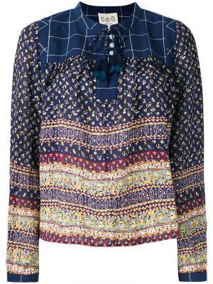 Блузка с принтом Sea. Цвет: синий