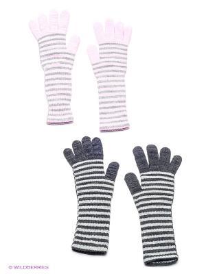 Перчатки, 2 пары FOMAS. Цвет: темно-серый, бледно-розовый