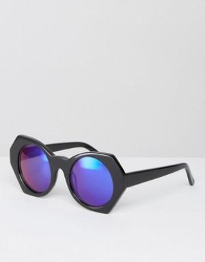 House of Holland Солнцезащитные очки с синими зеркальными стеклами. Цвет: черный
