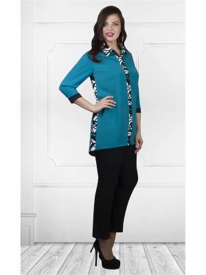 Блузка Camelia.. Цвет: черный, белый, бирюзовый