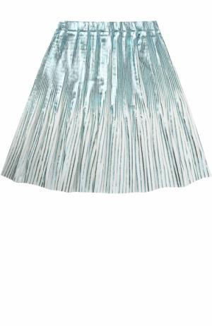 Плисированная юбка с метализированной отделкой Marc Jacobs. Цвет: голубой