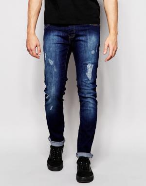 Loyalty & Faith Потертые темные джинсы скинни. Цвет: синий