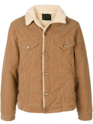 Вельветовая куртка с меховой оторочкой R13. Цвет: коричневый