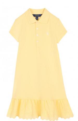 Хлопковое мини-платье с кружевной отделкой и оборкам Polo Ralph Lauren. Цвет: желтый