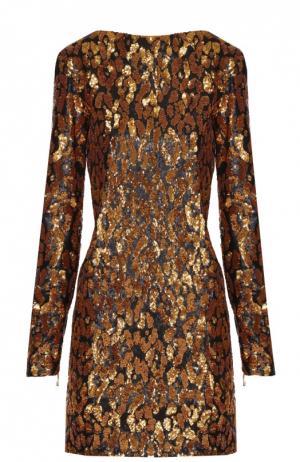 Мини-платье прямого кроя с контрастной вышивкой пайетками Balmain. Цвет: золотой