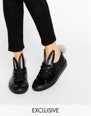 Minna Parikka Черные кожаные кеды с декоративными хвостиками. Цвет: черный