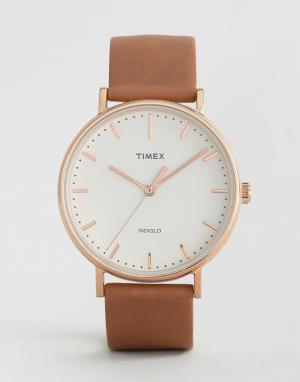Timex Часы с кожаным ремешком 41 мм Fairfield. Цвет: черный